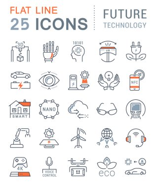 Set Vector Flat Line Icons Future Technology
