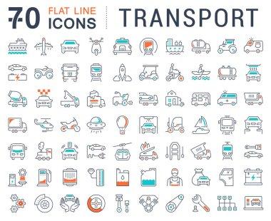 Set Vector Flat Line Icons Transport