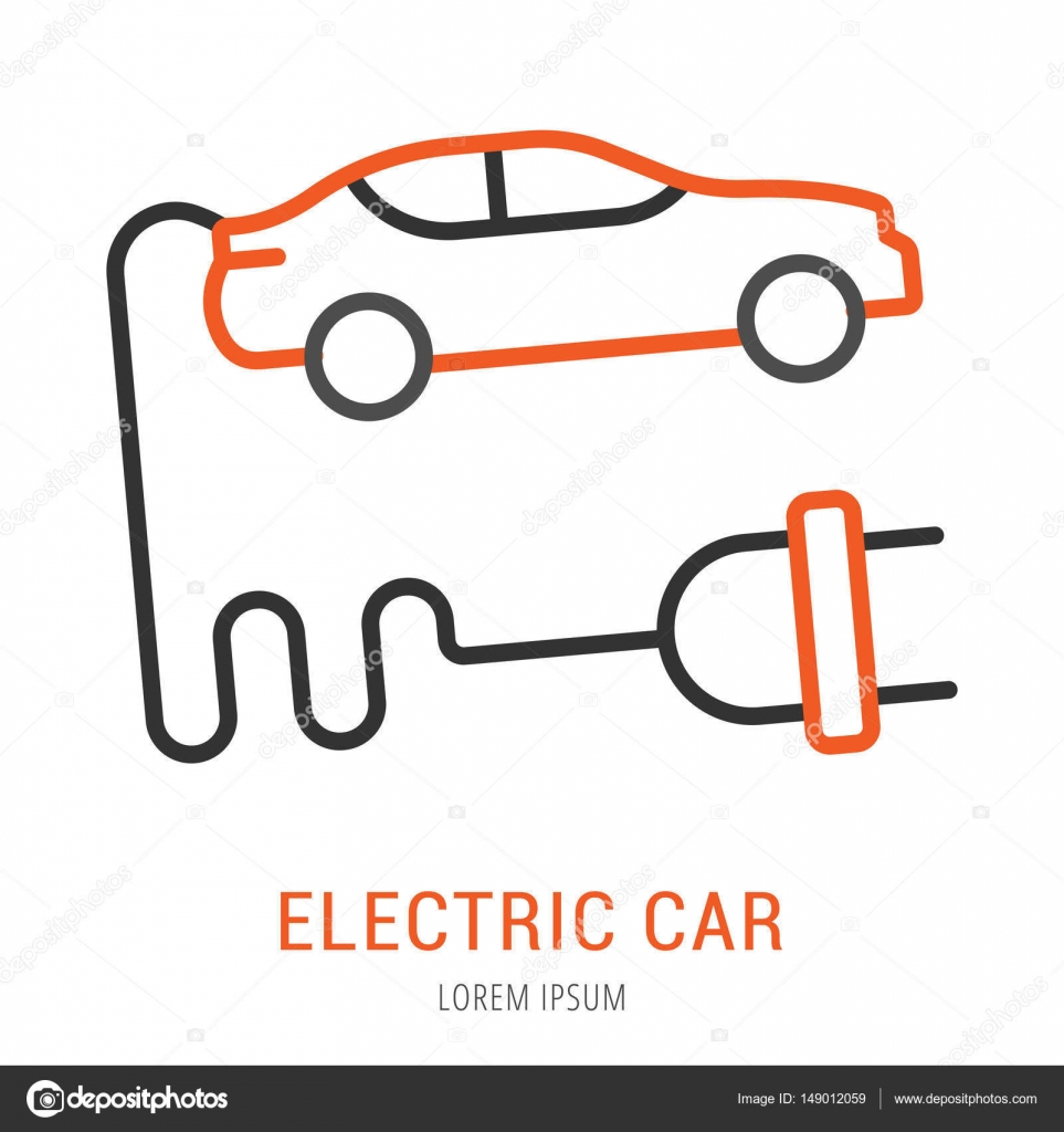 Vector Logo Simple plantilla coche eléctrico — Vector de stock ...