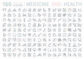 Fotografie Set Vektor flache Linie Symbole Medizin und Gesundheit
