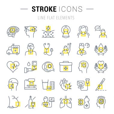 Set Vector Flat Line Icons Stroke