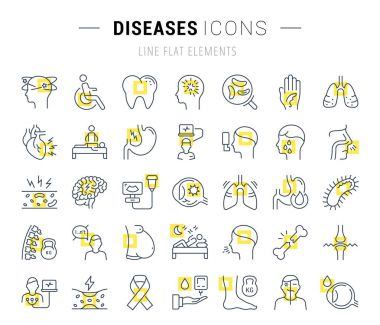 Set Vector Flat Line Icons Diseases
