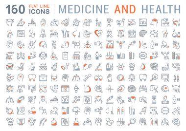 Set Vector Flat Line Icons Medecine and Health