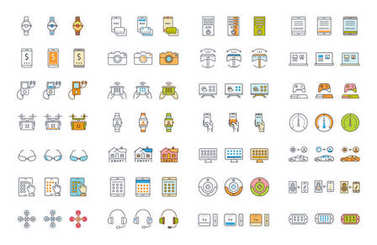 Set vector line icons with open path smart device and gadgets, smart, home, car drones and other device with elements for mobile concepts and web apps. Collection modern infographic logo and pictogram clip art vector