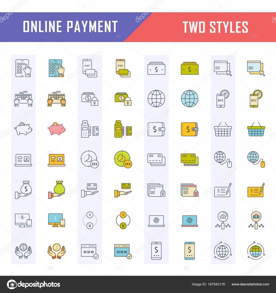 Defina vetor linha de ícones no projeto liso, banca on-line, pagamentos e  compras online com elementos de conceitos móveis e web apps.