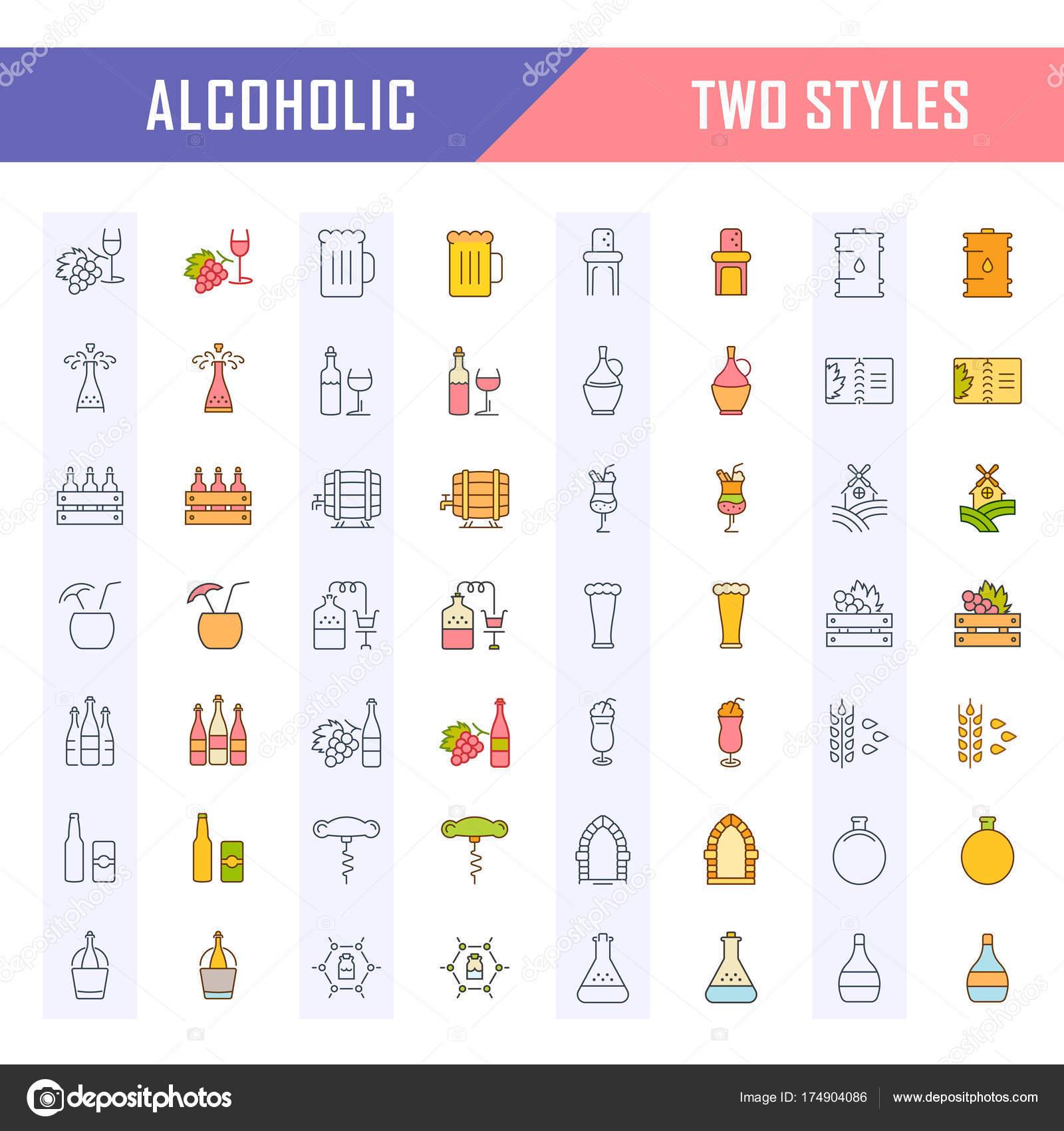 Legen Sie flache Linie Vektor-Icons alkoholische Getränke ...