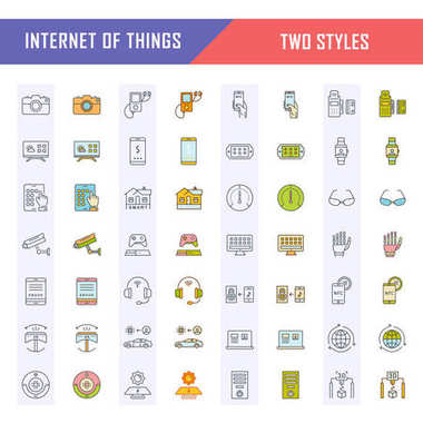 Set vector line icons in flat design internet of things and smart gadgets with elements for mobile concepts and web apps. Collection modern infographic logo and pictogram. clip art vector