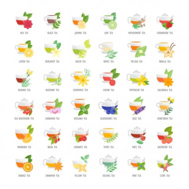 Set Vector Flat Icons of Tea