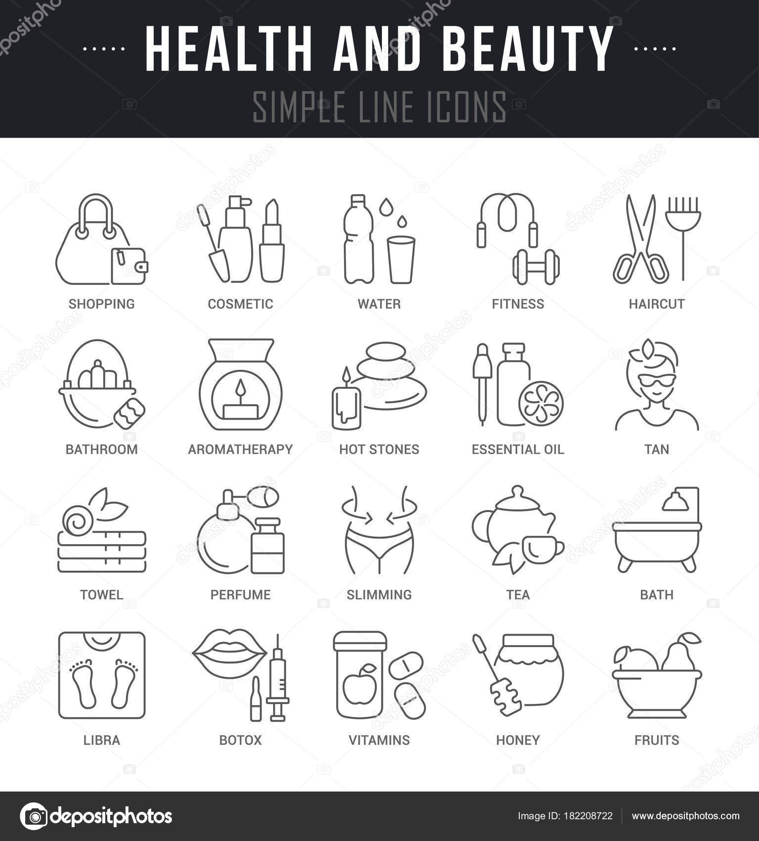 Set Outline Signs Symbols Health Beauty Names Collection Vector Thin