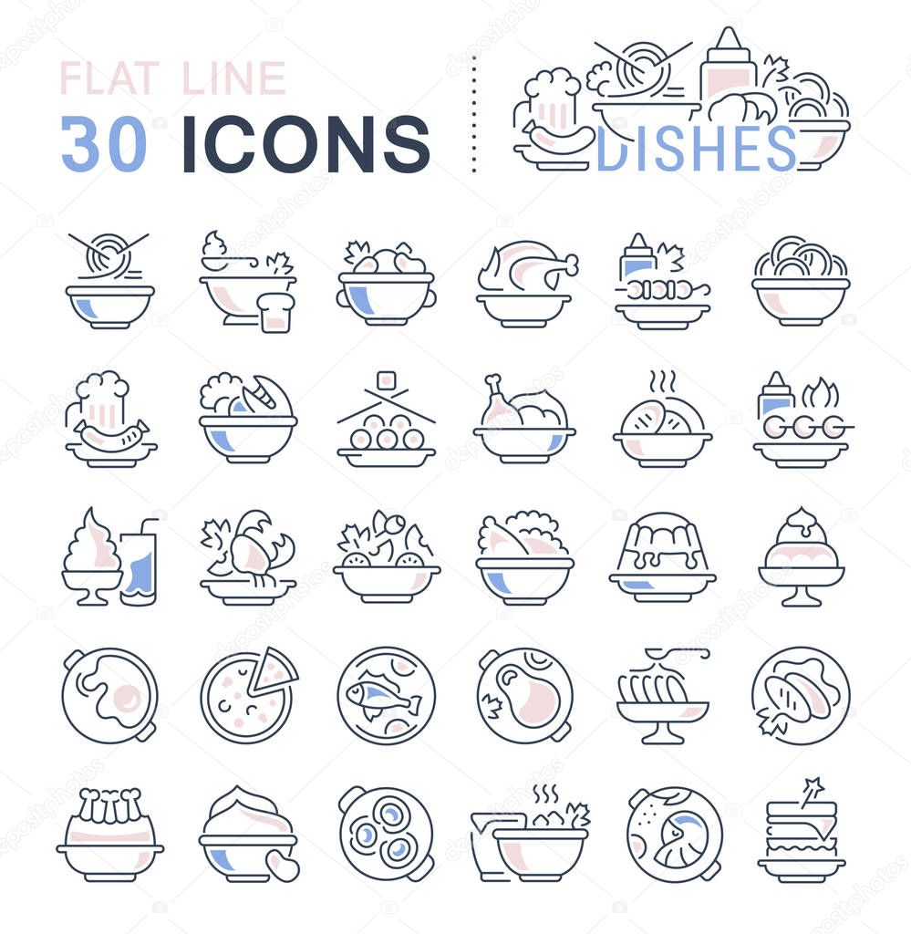 Set of vector line icons, sign and symbols with flat elements of dishes for modern concepts, web and apps. Collection of infographics logos and pictograms.
