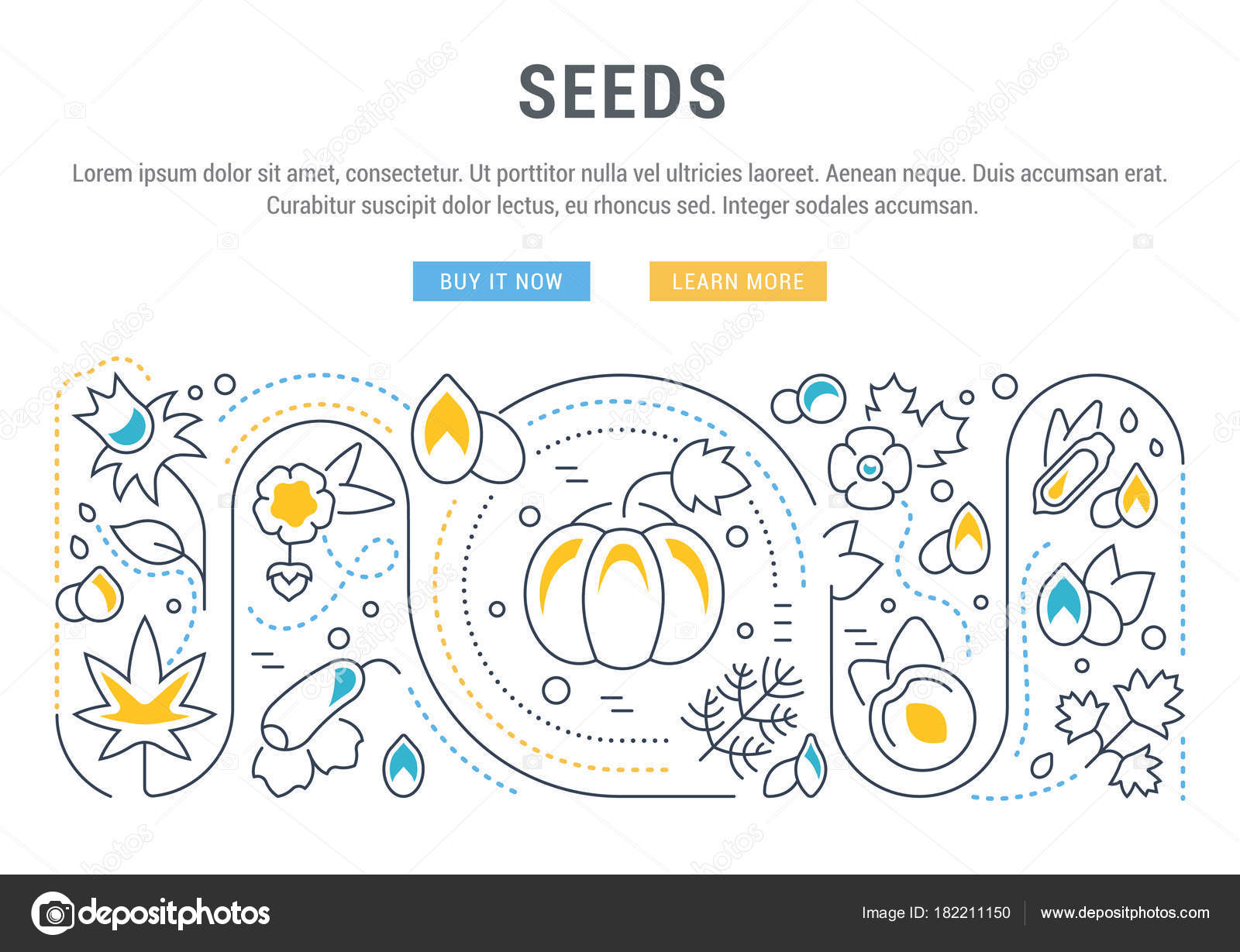 line illustration seeds concept web banners printed materials