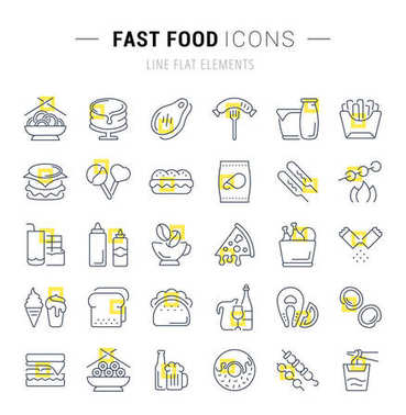 Set Vector Line Icons of Fast Food.