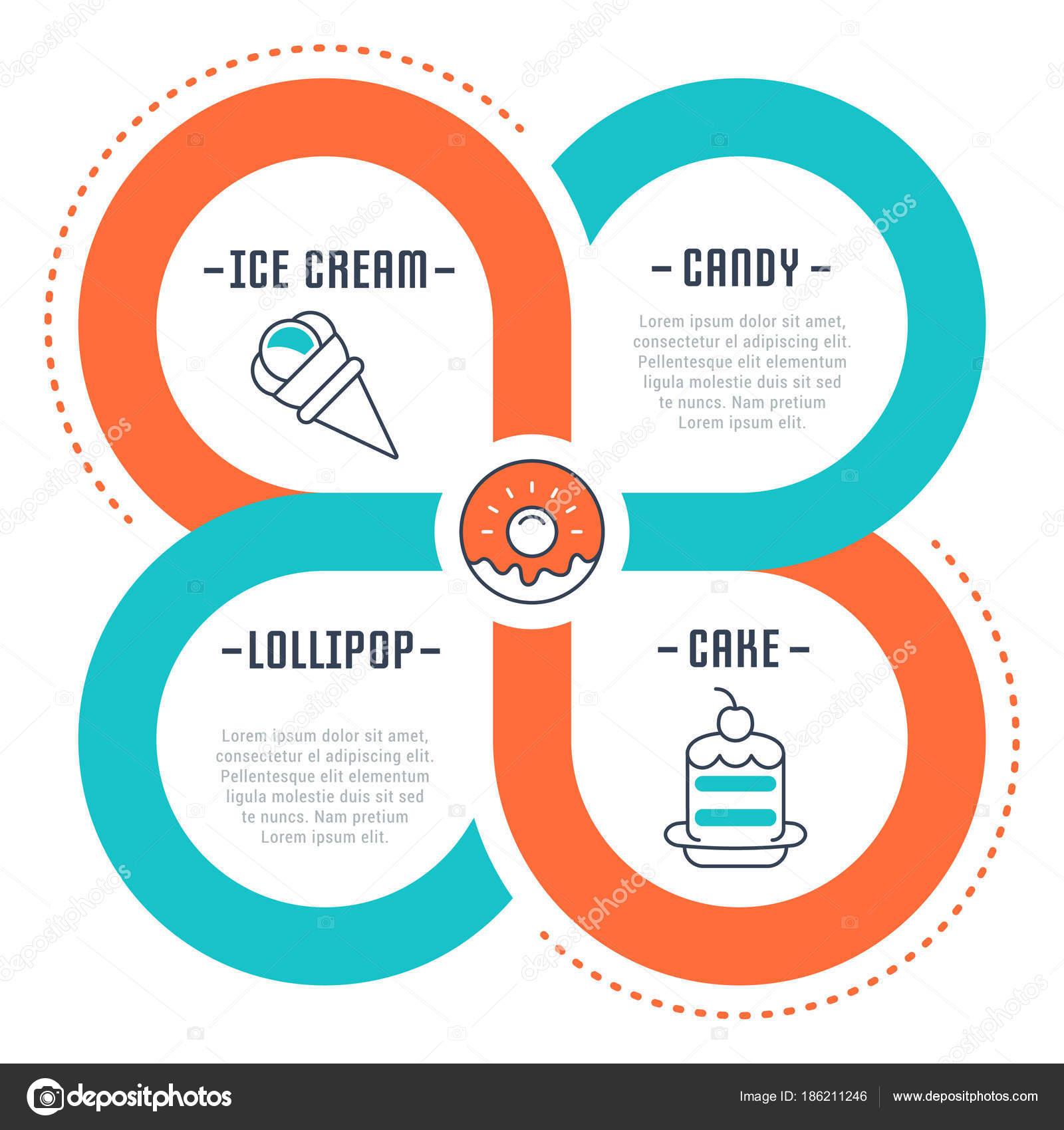 Banner de web y página de inicio de helado y pastel — Vector de ...