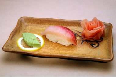 Japanese dish in a rectangular plate