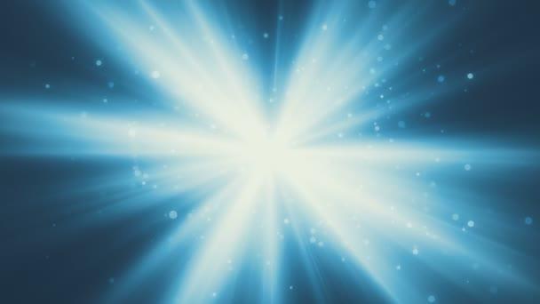 Modré zářivé paprsky s částicemi smyčky pozadí