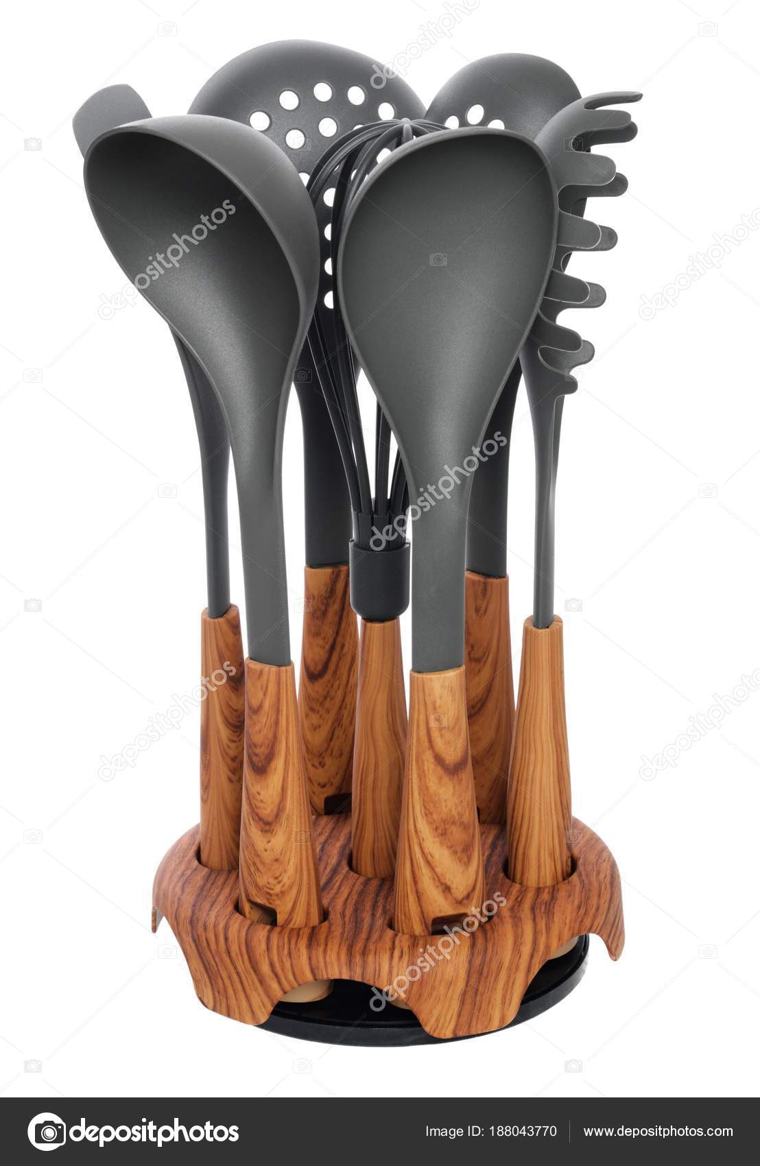 Plastic Kitchen Utensils With Wooden Handle Isolated On White. S U2014 Stock  Photo