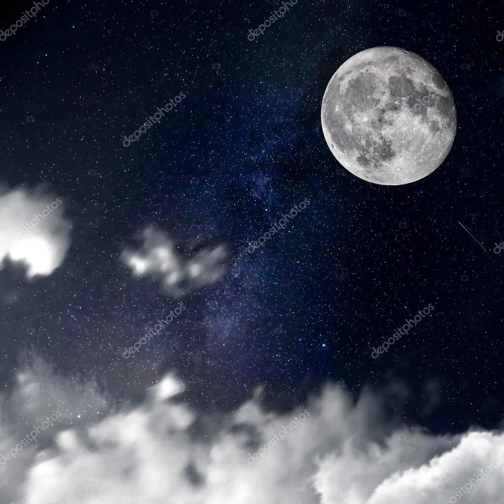 night with clouds and moon