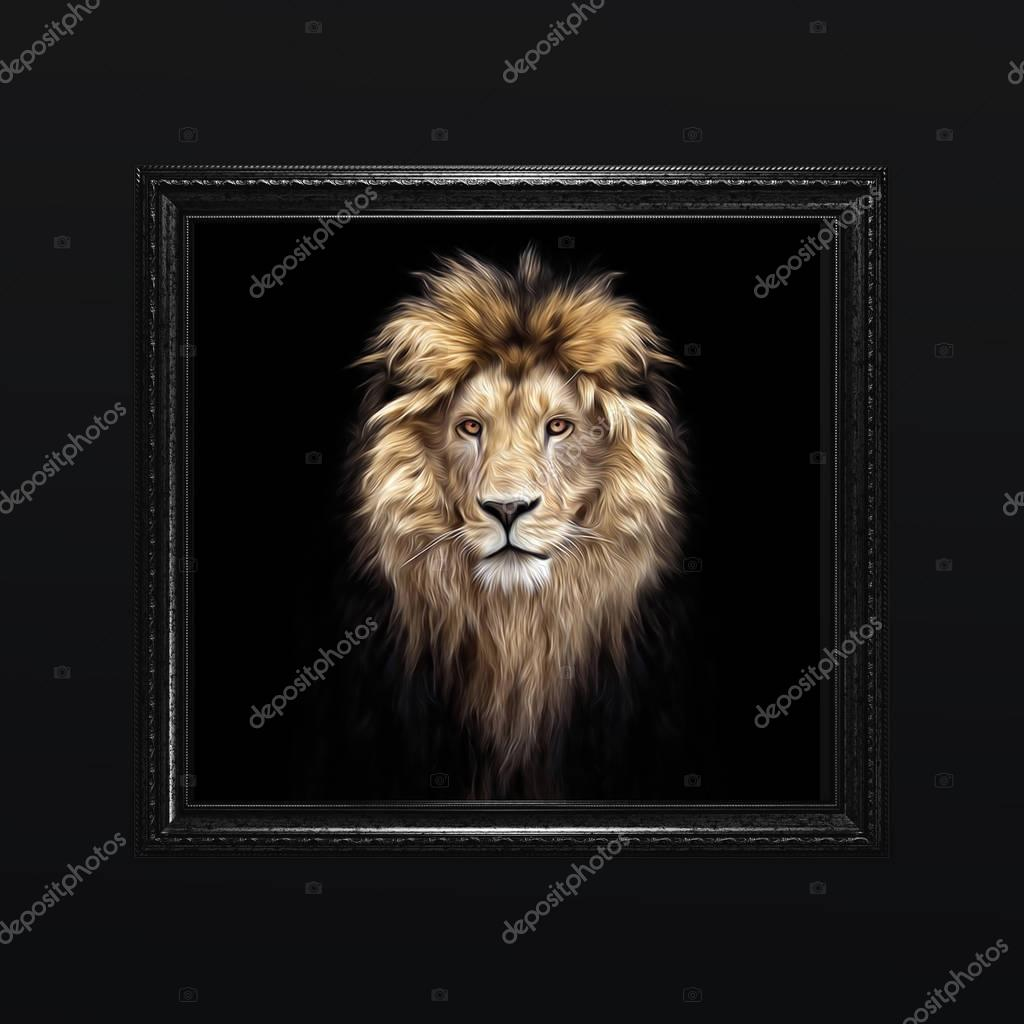 Portrait of a Beautiful lion, lion in the dark, oil paints, soft