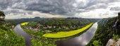 Elbtal, Panoramablick von der Bastei über die Elbe Sandstein-Berge