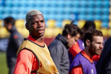 Paul Pogba on during training session before match