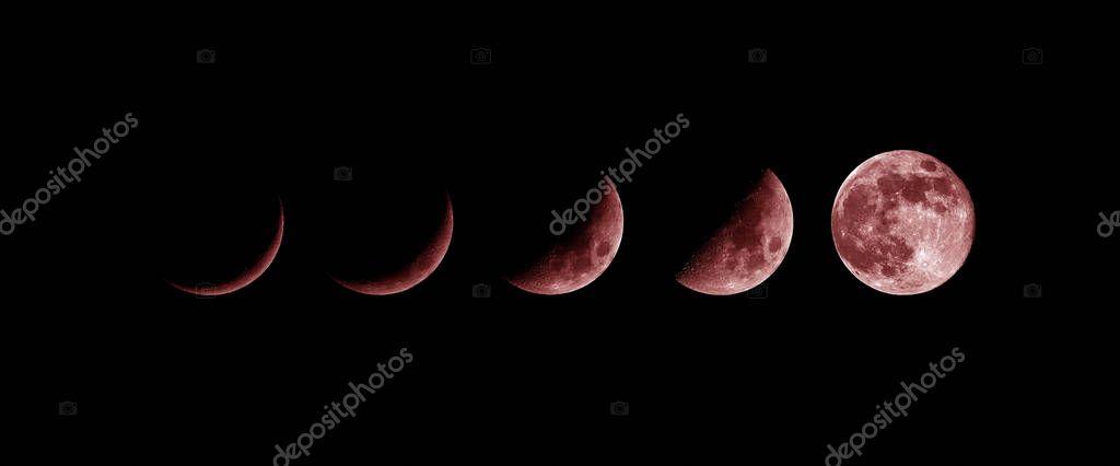 Moon phases. growing New moon, blood moon