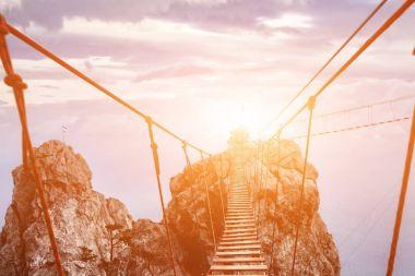 Suspension bridge on the Mount. path to the light