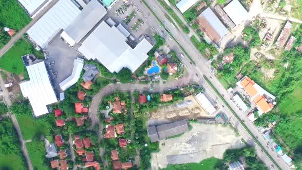 Drone Flying Over Neighborhood Houses Residential Area Street 03