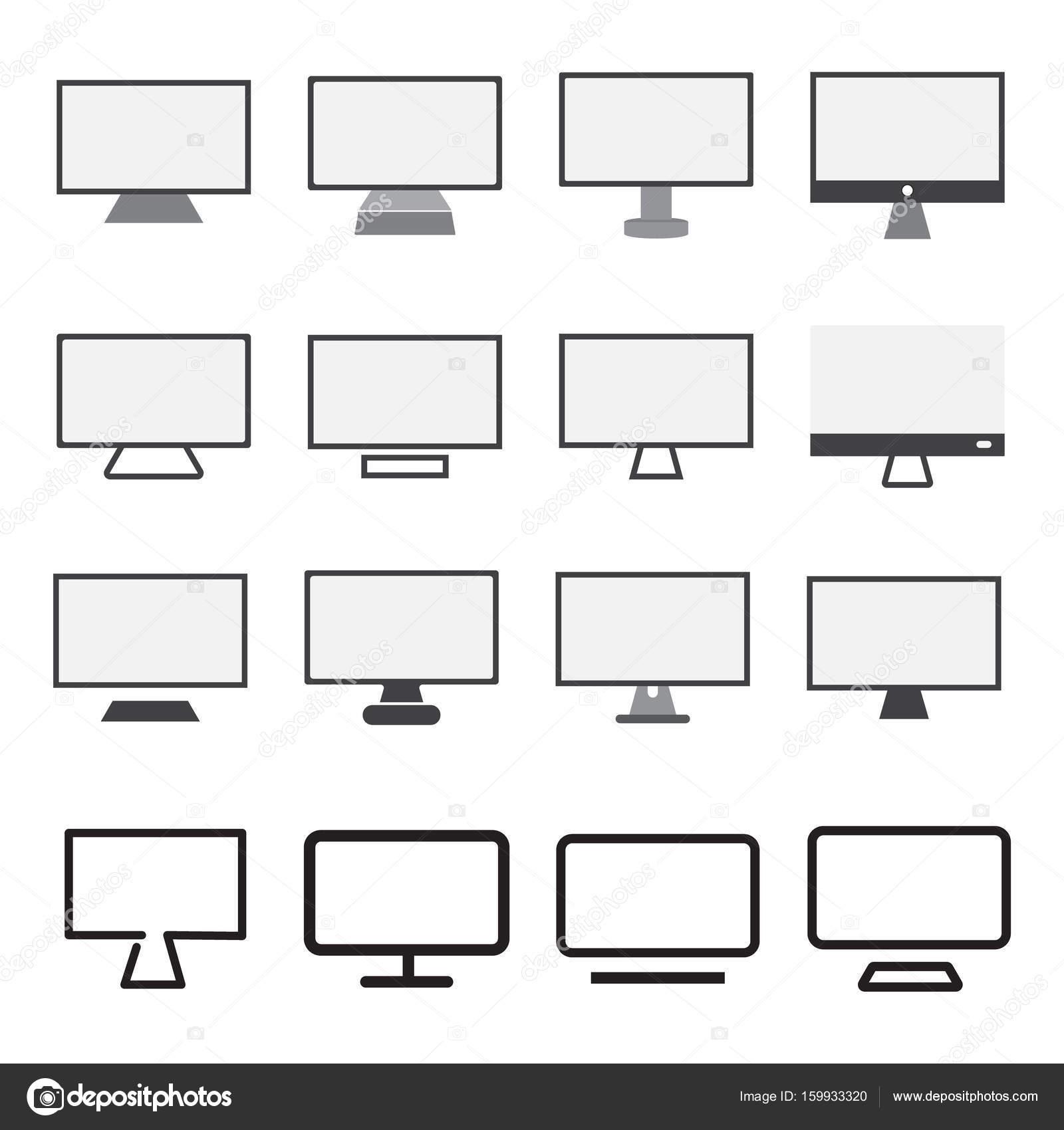 Computer Desktop Monitor Icon Sign Symbol Stock Vector Nonchai