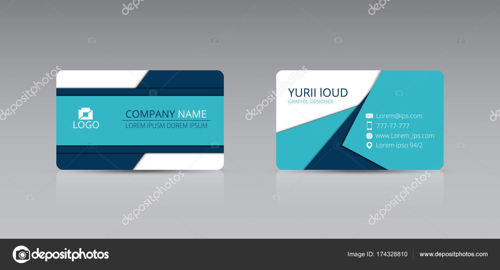 Blaue Kreative Visitenkarte Stockvektor Yura94loudking