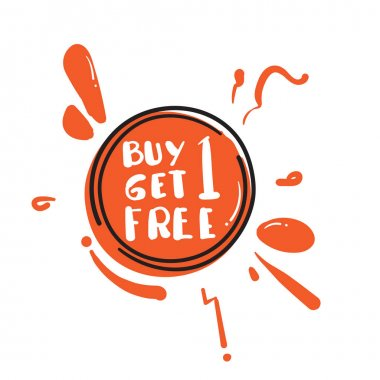 Buy 1 Get 1 Free sale tag with hand drawn doodle concept element vector