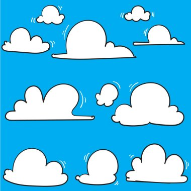 hand drawn Clouds icon, vector illustration. Cloud symbol or logo, different clouds set doodle
