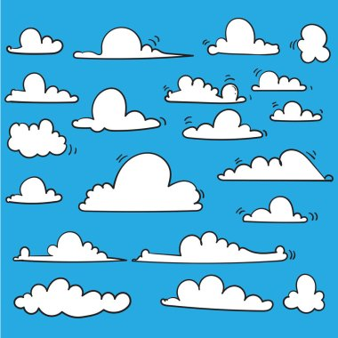 hand drawn Cloud collection. Abstract white cloudy set isolated on blue background. Vector illustration.doodle