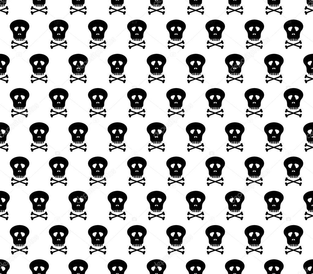 Hintergrund mit schwarzen menschlichen Schädel in einer Reihe ...
