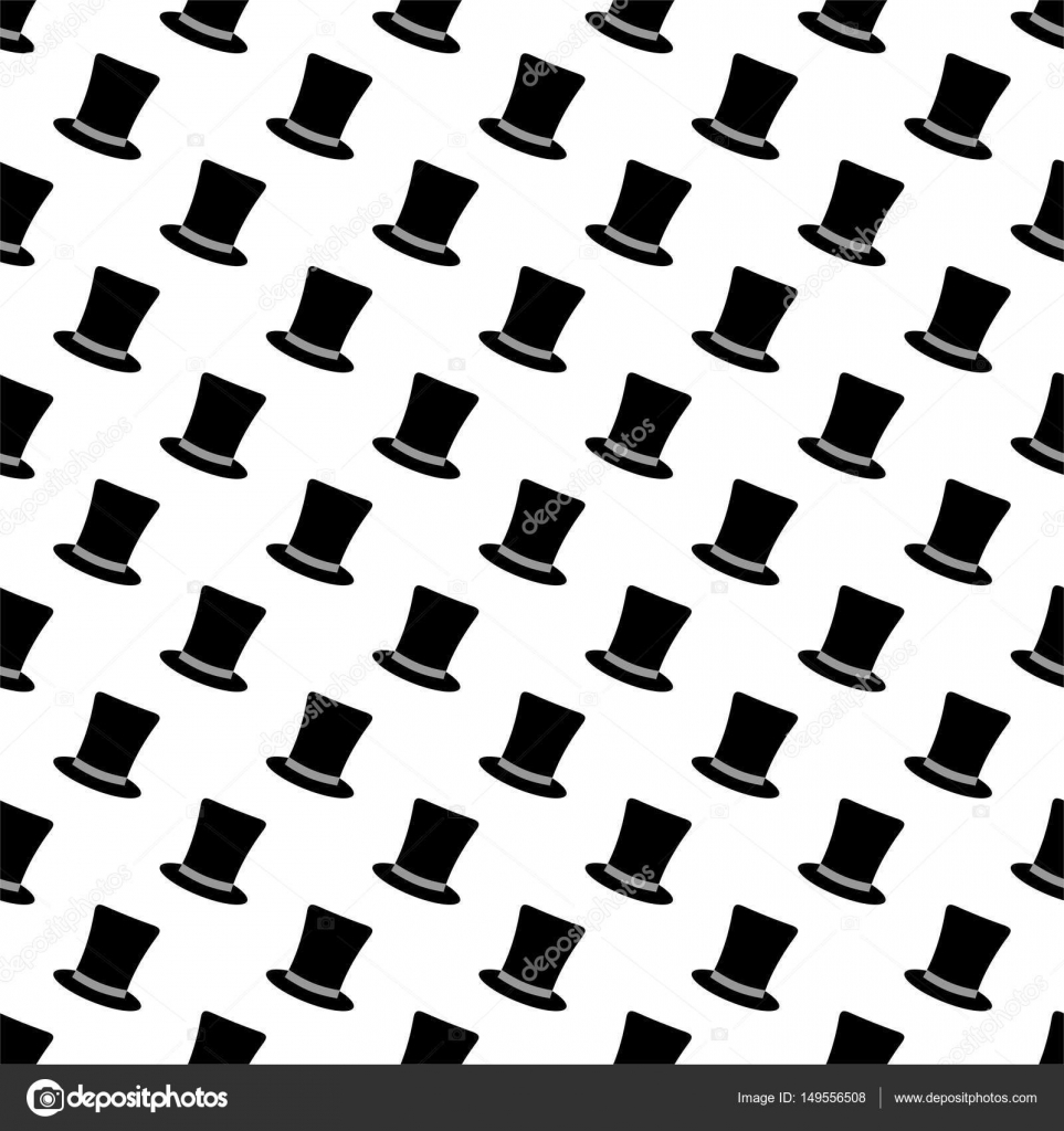 Male background of black cylinders with ribbon in a row led each other and  alternately under a white background. Luxury gentleman s hat per head —  Vector by ... d3650b729091