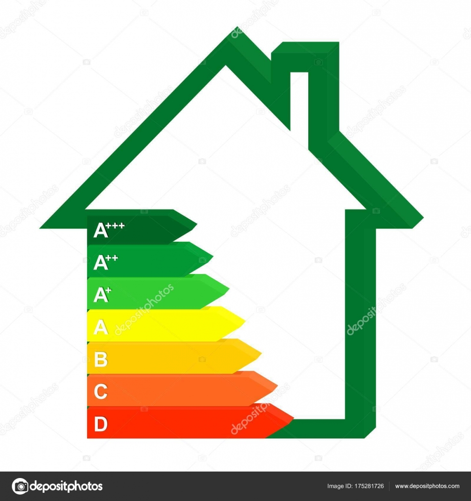 3D Color Icon Energy Class Home Next To A Green House. Graph Saving And  Energy Consumption Households U2014 Vector By Lacodk