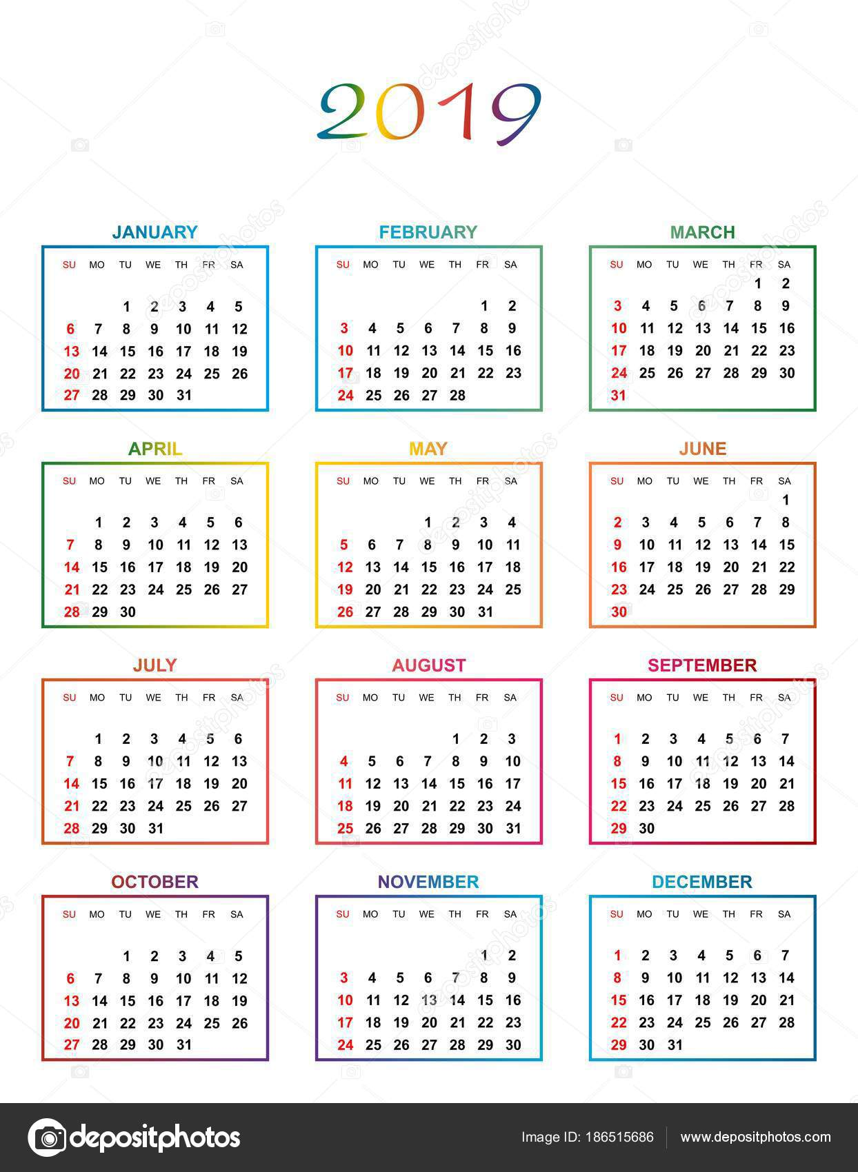 Simple Color Calendar Year 2019 Names Days Months Row Numbered Vector Image By Lacodk Vector Stock 186515686