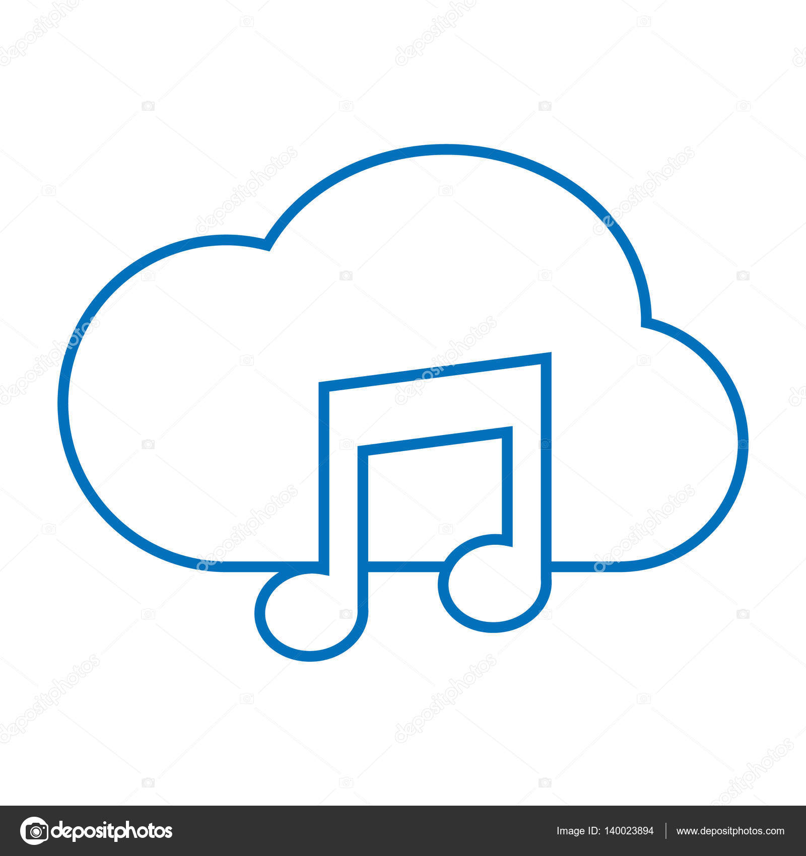 Cloud Music Storage Icon Stock Vector 140023894