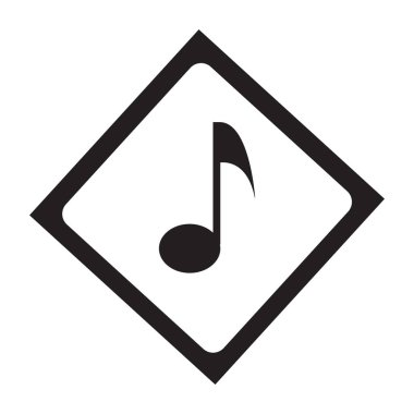 Flat black music button icon