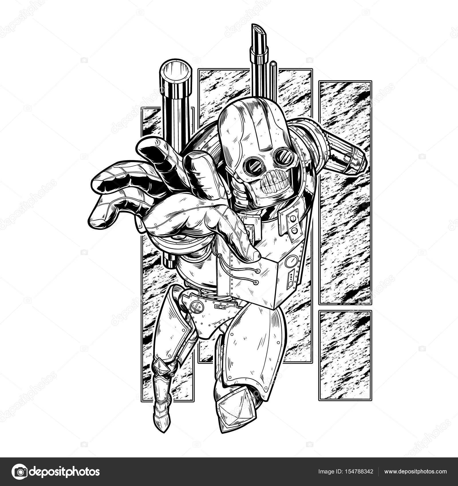 スチーム パンク ロボット イラスト ストックベクター Angbay 154788342