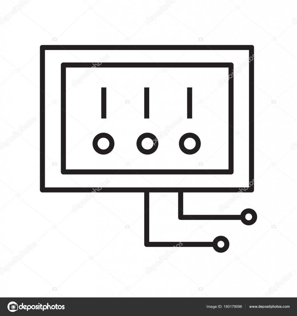 Dünne Linie elektrischen Schalter Symbol — Stockvektor © AngBay ...