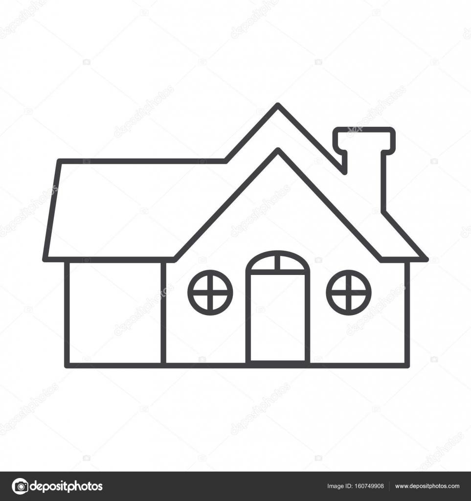Ince çizgi Ev Simgesini Stok Vektör Angbay 160749908