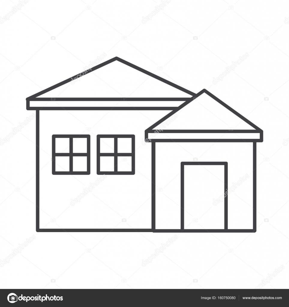 Ince çizgi Ev Simgesini Stok Vektör Angbay 160750080
