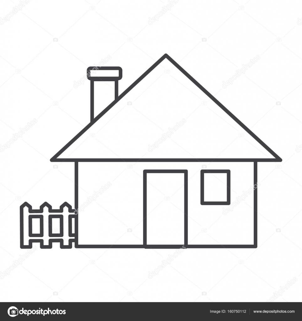 Ince çizgi Ev Simgesini Stok Vektör Angbay 160750112