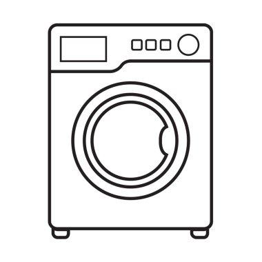 Thin line washing machine icon