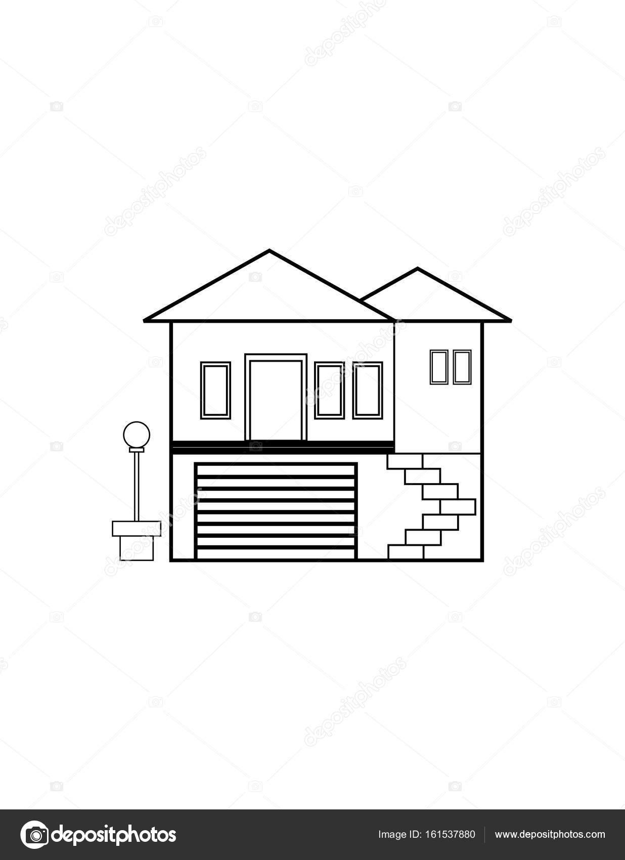Ince çizgi Ev Simgesini Stok Vektör Angbay 161537880