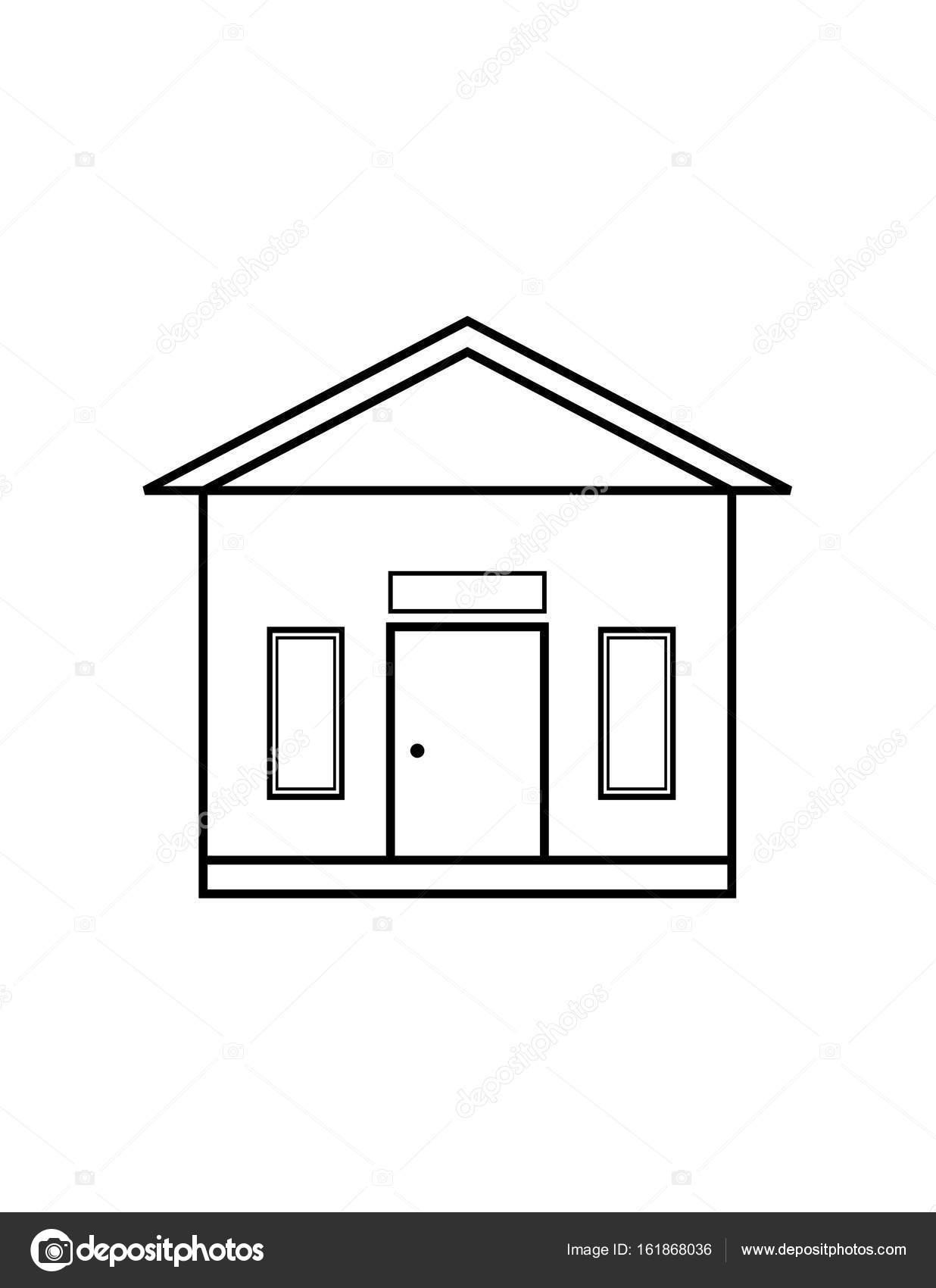 Ince çizgi Ev Simgesini Stok Vektör Angbay 161868036