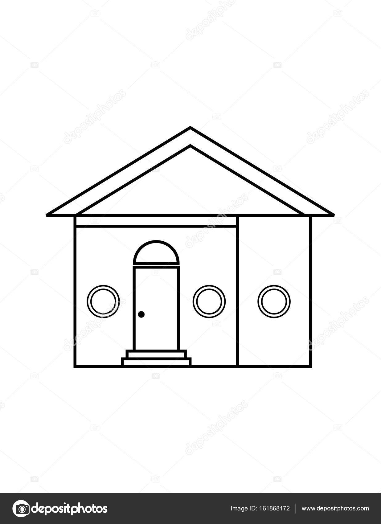 Ince çizgi Ev Simgesini Stok Vektör Angbay 161868172