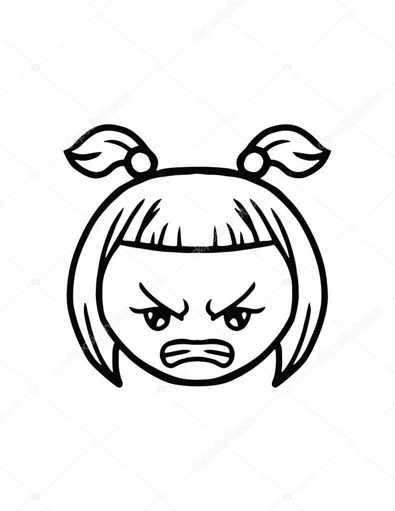 Icona Di Linea Sottile Faccia Arrabbiata Vettoriali Stock Angbay