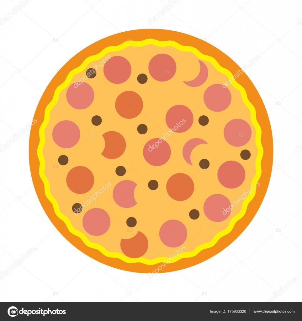 Einfache Flache Farbe Pizza Symbol Vektor — Stockvektor © AngBay ...