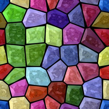 full spectrum multi colored abstract marble irregular plastic stony mosaic pattern texture seamless background with black grout